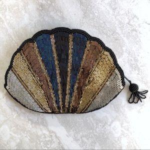 Vintage Shell Small Handbag Beaded Zip Close
